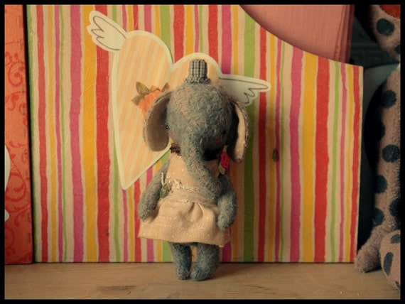PDF Epattern for 5 inch Miniature Pocket Size Artist Sweet Tiny Teddy Elephant plus the pattern for the dress and suit