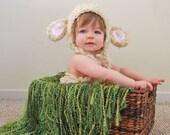 Newborn fringe blanket photography prop - Grass Green