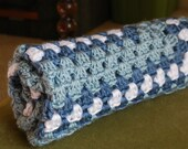 Baby Afghan Blanket - granny square design - blue and white