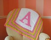 Custom Monogram Initial Baby Afghan Blanket - your choice of colors