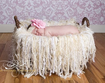 Newborn fringe blanket photography prop - toasted coconut
