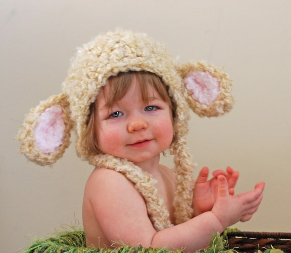 Fuzzy lamb earflap hat in cream - Easter Hat / photo prop