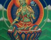 Goddess Green Tara spiritual art Buddha poster Tibetan Buddhism print Buddhist meditation