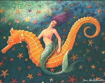 Seahorse Mermaid Art whimsical fantasy starfish 5x7 blank note card of painting