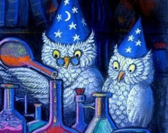Cute Owls owl alchemist art Magic wizard alchemy matted print of painting by Sue Halstenberg