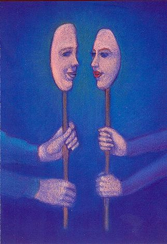 """fantasy art Masks of Lovers man and woman faces Love Romance psychology mask 5x7 card """"Personas"""""""