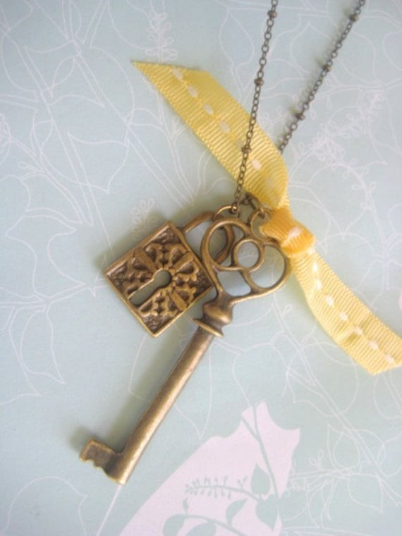 Under Lock and Key Bronze Charmed Necklace
