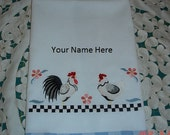 Personalized Rooster & Hen Embroidered Tea Towel Blue/White Check