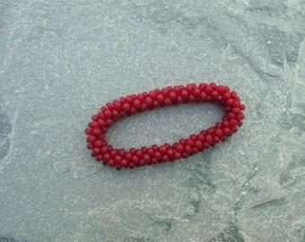 Hand Crocheted Frosted Raspberry Glass Bead Bracelet