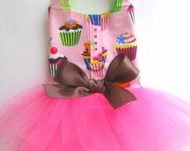 Dog Tutu Harness Dress, Pink Cupcake