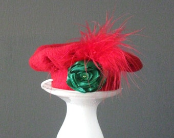 Red Christmas Dog Beret Hat