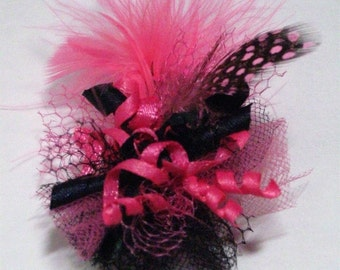 Pink & Black Feather Fascinator Dog Hair Bow