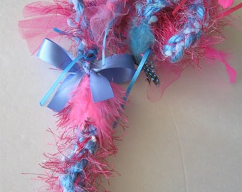 Dog Leash Pink and Blue Feather Crochet