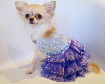 Dog Dress Couture Sparkling Mystic with Swarovski Crystals