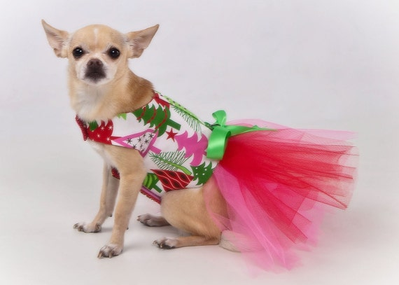 Dog Dress Tutu Harness Christmas Trees - Featured in Martha Stewart Holiday Gift Guide - SALE