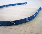Alice Headband - Navy Anchors