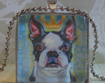 Boston Terrier (Rosie) Glass Tile Pendant by Gena Semenov - FREE SHIPPING USA