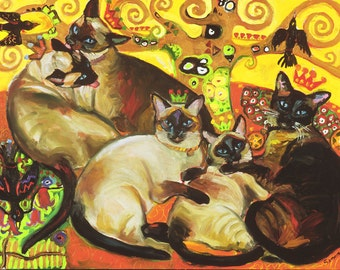 Five Siamese Cats and Crows - Free Shipping USA