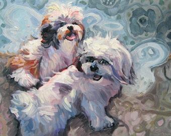 Fluffy Angels Dog Art Print by Gena Semenov - Free Shipping USA