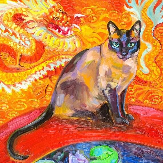 Siamese Cat, Chinese Dragon and A Koi Pond Art Print by Gena Semenov - FREE Shipping USA