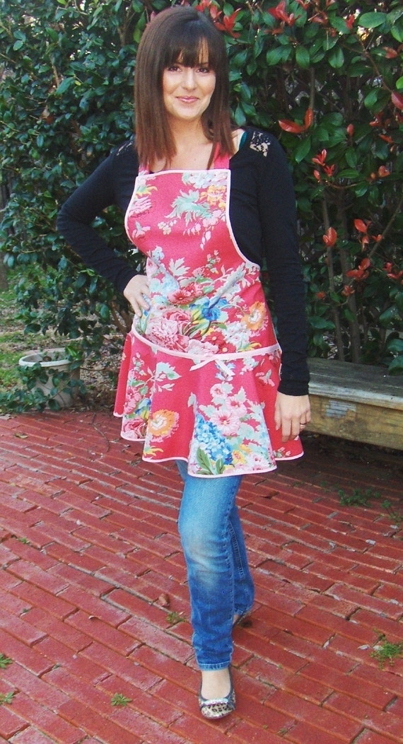 SALE - Sassy Red Floral Full Apron