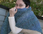 Crocheted Soft Snuggle Shawl - Blue and Purple