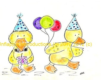 Birthday Card Duck, Duck.....Going to See......  5 x 7 Birthday Card or Invite suitable for framing