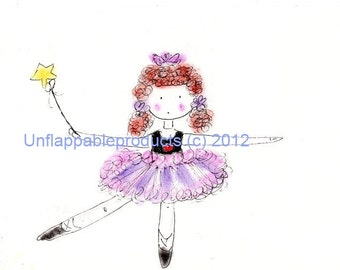 Princess Ballerina One  Matted  Print ~ Frilly Lily