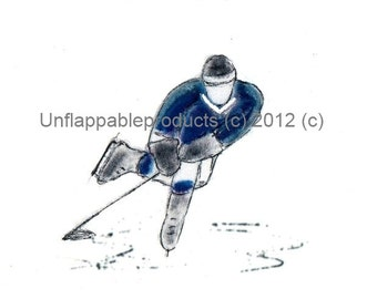 Hockey Player Blue Matted Print 8 x 10