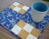 Gold and Blue for Hanukkah again mug rugs - FREE SHIPPING