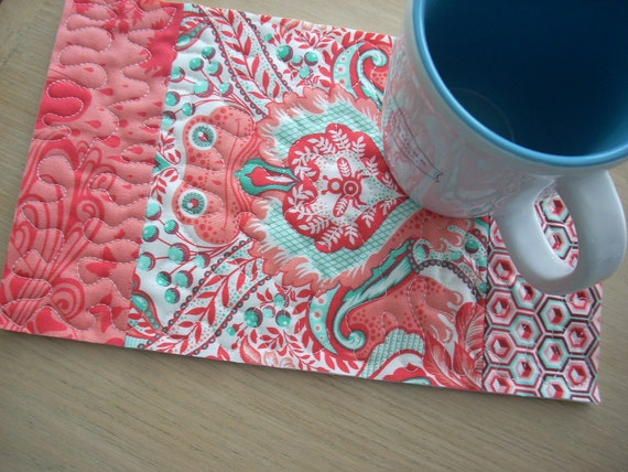 Prince Charming in coral and teal Mug Rug - FREE SHIPPING