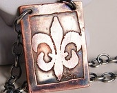 Fleur-de-lis Copper-etched Necklace on Silver Chain
