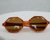 1960s sunglasses, bamboo frames, orange framed sunglasses, matching Chinoise case, by May