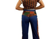 1970s jeans, patchwork blue jeans, 70s bell bottoms, leather patchwork, gold, maroon, black, Size Medium