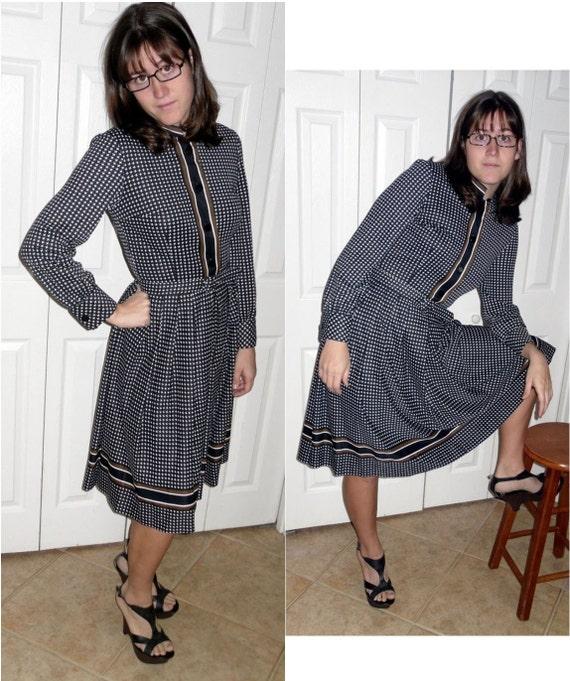 vintage secretary dress black and white houndstooth size 10
