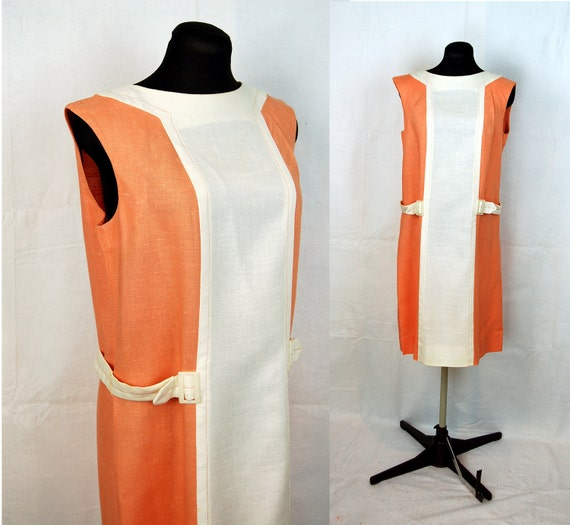 60s MOD dress, 1960s linen dress, shift dress, orange linen dress, tangerine, R&K Originals, Size M
