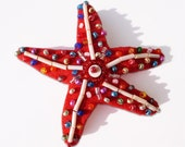 Beaded Starfish Brooch in Red