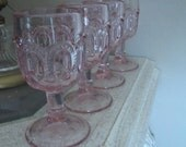 LE Smith Moon and Stars Pink Cordial Glass Goblets