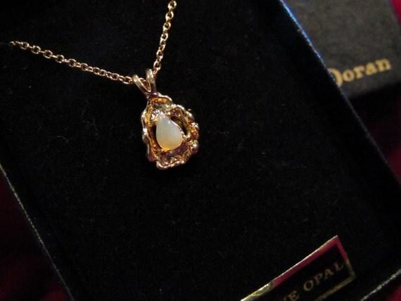 vintage doran genuine opal necklace nib