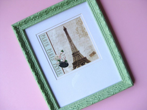 Parisian Chic Vintage Green Frame and Print