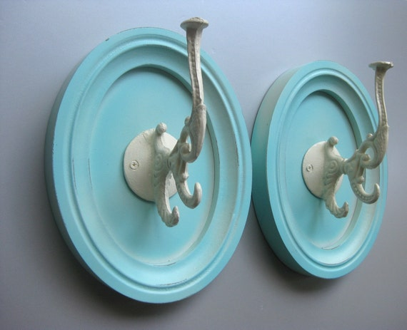 Shabby Cottage Hooks, Wall Hooks, Ornate Hooks, Beach Cottage, Coastal Cottage, French Country, Rustic, Aqua, Turquoise