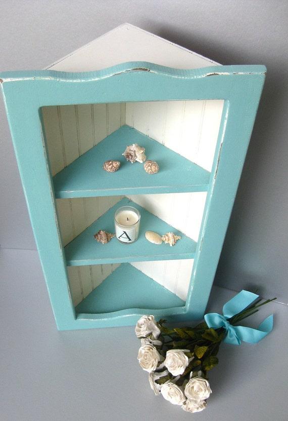 Coastal Blue Shabby Corner Shelf Vintage Beadboard Distressed