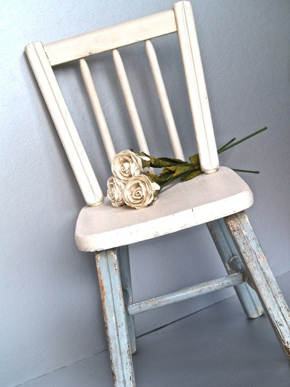 Vintage Child's Chair, Wooden Chair, Cottage Chic, Shabby and Chic, Farmhouse Decor, Rustic, Chippy Paint, Pink, Blue, Small Chair