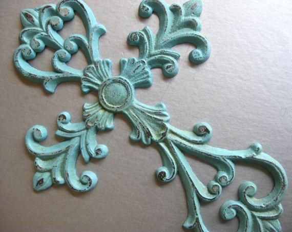Rustic Aqua Cross, Metal Cross, Cross Wall Decor, Aqua Blue, Shabby and Chic, Cottage Chic, Ornate Cross, Religious Symbol
