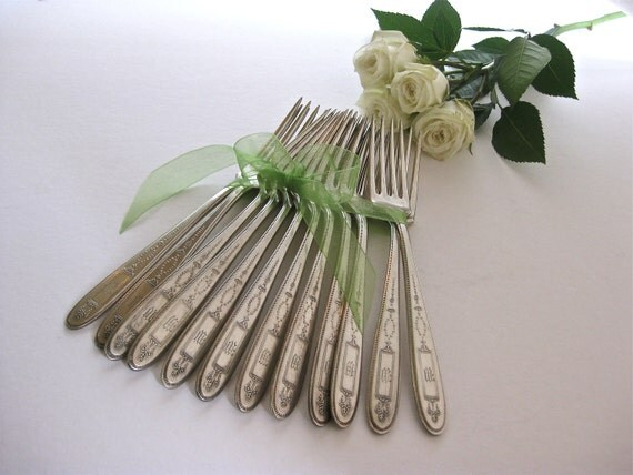 Antique Flatware, Dinner Forks, Dining, Community Plate, Old Flatware, Grosvenor, Shabby and Chic, Cottage Chic