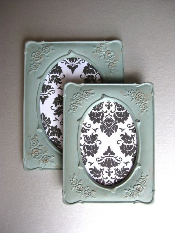 Vintage French-Inspired Frames, Aqua Frames, Oval Frames, Floral Frames, French Country, Shabby and Chic, Cottage Chic