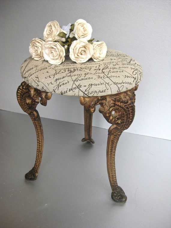 French Stool, Vintage Stool, Iron Stool, French Script, French Country, Rustic Farmhouse, Shabby and Chic, Cottage Chic