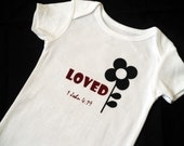 Last One LOVED with Flower Baby bodysuit Size 3 month