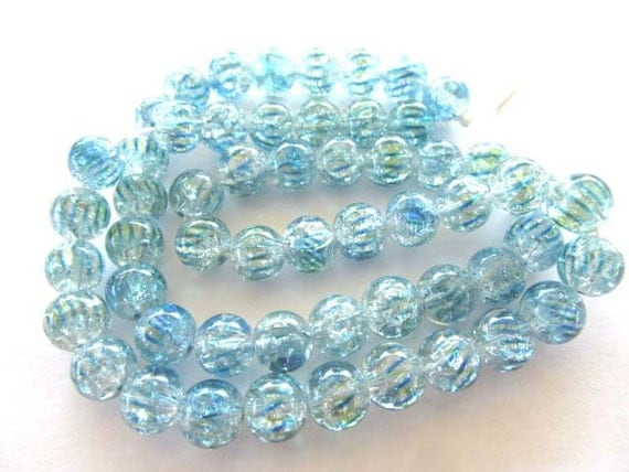 Teal Crackle Glass Beads, 8mm, Full Strand