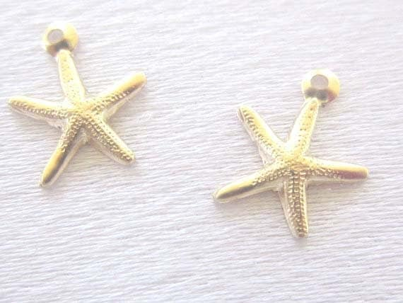 14 K Gold Fill Starfish Charm, 8mm, Hollow back, 2 pieces